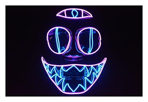 Plurfect Lights EL Wire Mask Cotton Candy Chakra Cat Halloween Mask Rave Mask GLOVING Mask (Skrillex Halloween)