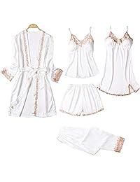 Chinashow Set of 5 Womens Satin Pajamas Set Sexy Ice Silk Suit Set Sleepwear/Nightwear Clothes, White #B