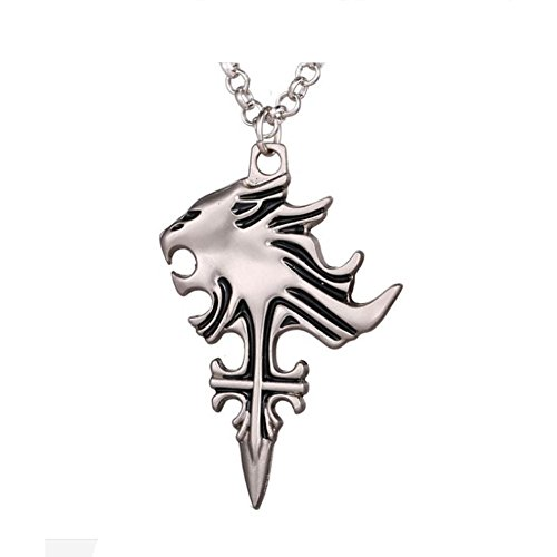 """Timeless-Treasures Sleeping Lion Heart Inspired by The Final Fantasy Game on Free 20"""" Chain, Pendant - 45mm x 30mm (1.77"""" x 1.18"""")"""