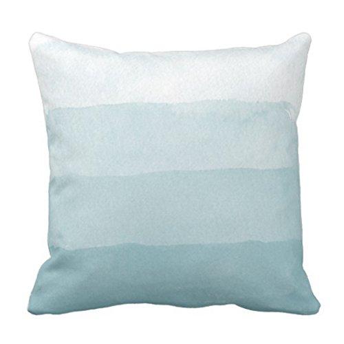 Cover Stripes Beach Seaglass Aqua Watercolor Gradient House Decorative Pillow Case Home Decor Square 18 x 18 Inch Pillowcase ()