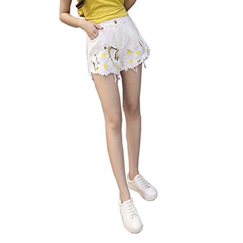Elegante gestickte Blumen-heiße Hosen-hohe Taillen-Denim-Kurzschlüsse für Damen, D