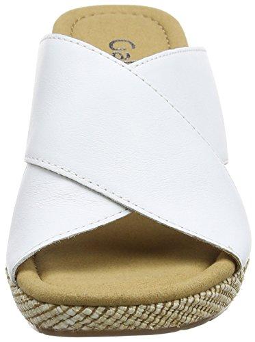 Weiss Keilabsatz Sandalen Weiß 50 Damen Offene Bast Comfort mit Gabor 7Uxa0RAn