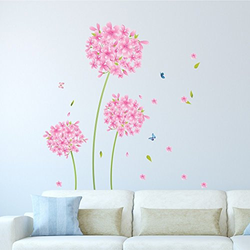 Amazon Brand – Solimo Wall Sticker for Home (Pink Blossoms, Ideal Size on Wall, 90 cm X 100 cm)