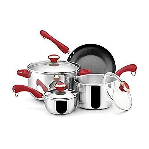 Paula Deen Stainless Steel Red Handle 7-piece Cookware Set