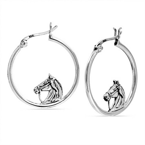 (Equestrian Equine Gift Thoroughbred Horse Cowgirl Hoop Earrings For Women For Teen 925 Sterling Silver 1 in Dia)