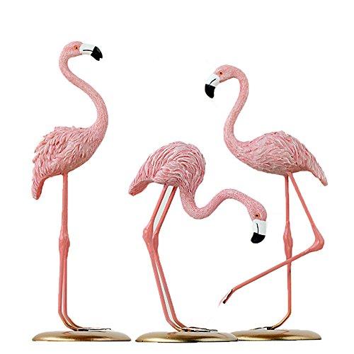 SHOLIND Flamingo Resin Decoration Living Room Bedroom Office Cute Decoration Set 3 Pieces