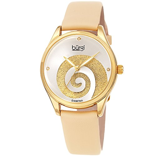 Burgi Women's Watch with Diamond Markers - Sunray Dial with Sparkling Crystal Powder Swirl - Gold Satin Over Genuine Leather Skinny Strap - BUR201YG