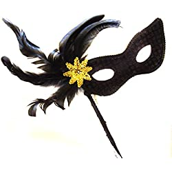 Black Cat Sequin Feather Wand Mask with Gold Burst Halloween Mardi Gras