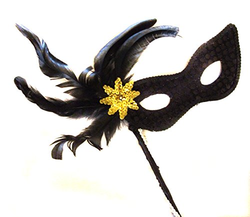 Cat Feather Mask - Black Cat Sequin Feather Wand Mask with Gold Burst Halloween Mardi Gras