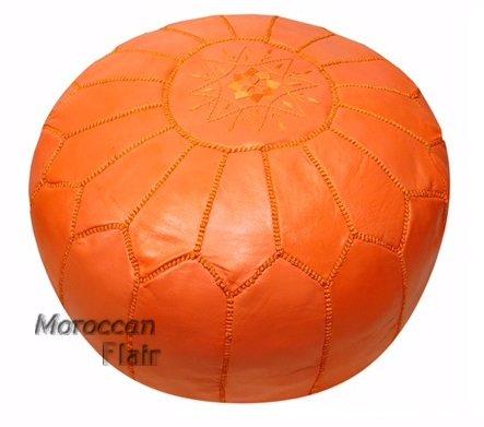 Stuffed Handmade Genuine Leather Moroccan Pouf, Ottoman (Orange)