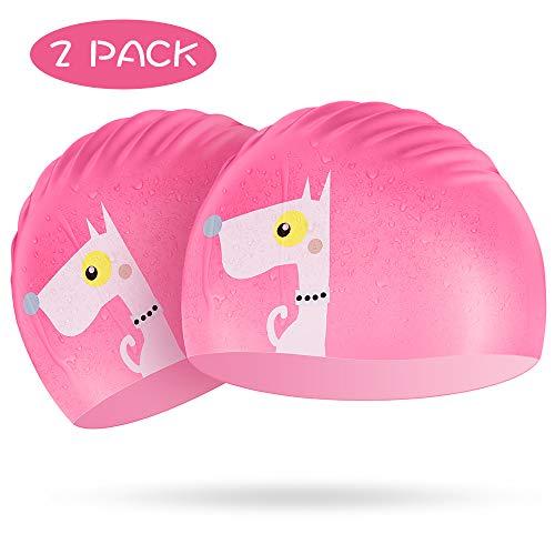 Kids Swim Cap 2 Pack, Silicone Swimming Cap Pink for Girls - Elastic Waterproof Swim Hat for Toddler Age 3-10