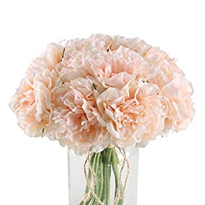 XYXCMOR Silk Peoies Flowers 2 Pack Artificial Flower Bouquet 10 Heads Hydrangeas Floral Arrangements for Bridal Wedding Home Table Decor Single Stem Light Pink 23