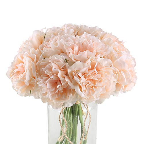 XYXCMOR Silk Peoies Flowers 2 Pack Artificial Flower Bouquet 10 Heads Hydrangeas Floral Arrangements for Bridal Wedding Home Table Decor Single Stem Light Pink