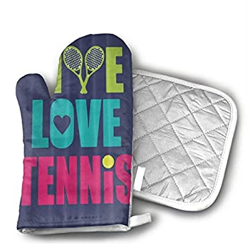 Love Tennis Oven Mitts,Professional Heat Resistant Microwave BBQ Oven Insulation Thickening Cotton Gloves Baking Pot Mitts Soft Inner Lining Kitchen Cooking