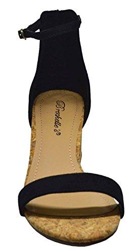 Breckelles Aileen-06 Womens Open Toe Ankle Strap Cork Block Heel Sandal Black Size 8 Black wj9mjIpa2