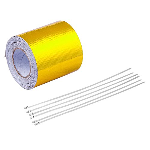 (High-Temperature Heat Reflective Adhesive Tape Roll,Heat Shield Tape Backed Heat Barrier for Car, Truck, Motorcycle (Gold, 16'×2