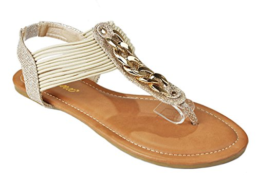 Women Aloe01 Gold Golden Chain Giltter T-Strap Elastic Stretchable Slingback Flat Thong Sandals-6 (Roman Outfits For Womens)