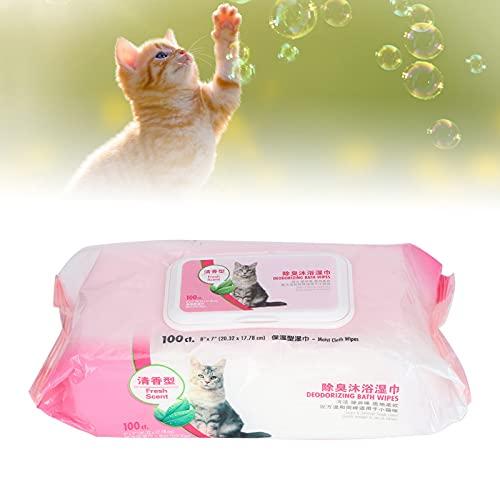 Reinigingsdoekjes, zachte huisdierendoekjes met dubbele bescherming voor reiniging(Cat bath towel 100 pumps)
