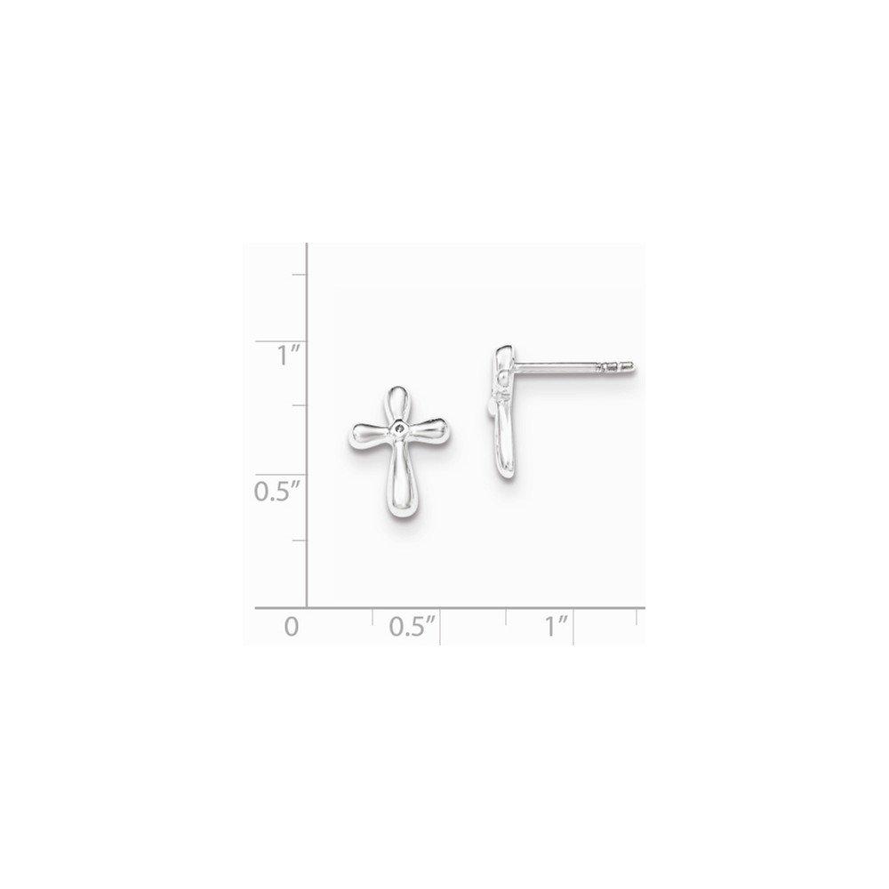 .925 Sterling Silver 13 MM Polished Diamond Cross Post Stud Earrings