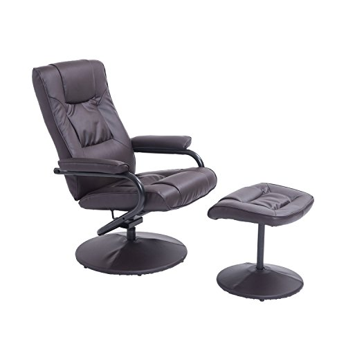 HOMCOM Executive Recliner Chair High Back Swivel Armchair Lounge Seat w/Footrest Stool (Brown)