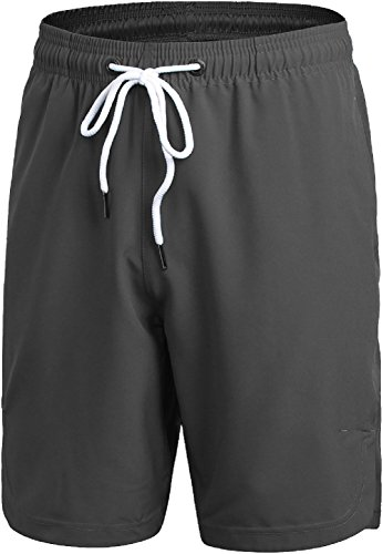 Mens Athletic Gym Shorts Elastic Waist - Quick Dry Stretchable for Running, Training, Workout Swim Trunks for Watersports(M, Dark Grey)