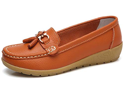 Women's Faux Suede Comfort Slip-on Penny Loafer Flat Shoes(Orange/37/6 B(M) US Women)