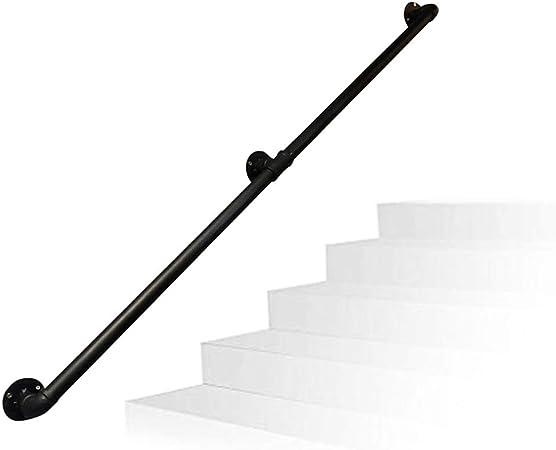 Kit Completo de Soporte de riel de barandilla Industrial. Barandilla Hierro Forjado Negro Mate Pasamanos de transición Soportes para escaleras Puerta de Entrada de casa o Bodega: Amazon.es: Hogar