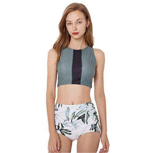 - SailBee Women's Two Piece Tankinis Set Rash Guard Yoga Top Swimsuit Sun Protection (9033, US M/Tag L)