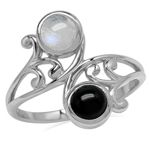 5MM Natural Round Shape Moonstone & Onyx 925 Sterling Silver Leaf & Swirl Style Bypass Ring Size 8