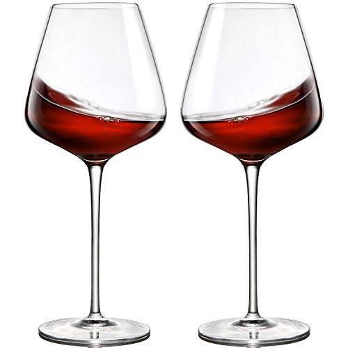 Crystal Red Wine Glasses Set of 2,Hand Blown Wine Glasses Clear-100% Pure Lead Free Finest Crystal,21 Oz,Long Stemmed-Best for Wine Tasting, Birthday, Anniversary or Wedding Gifts