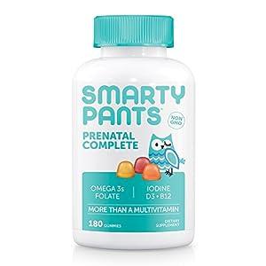 SmartyPants Prenatal Complete Daily Gummy Vitamins: Gluten Free, Multivitamin, Folate (Methylfolate), Vitamin K2, Vitamin D3, Methyl B12, Biotin, Omega 3 DHA/EPA Fish Oil, 180 count (30 Day Supply)