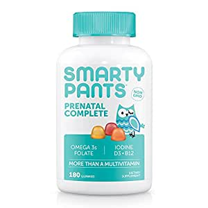 SmartyPants Prenatal Complete Gummy Vitamins: Multivitamin, Folate (Methylfolate), Vitamin K2, Vitamin D3, Methyl B12, Biotin, & Omega 3 DHA/EPA Fish Oil, 180 count (30 Day Supply)