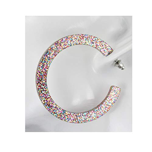 (Multi Color Confetti Sparkly Hoop Earrings Plastic Glitter Post Hoops 1.75