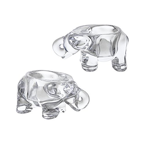 Elephant Votive Candle Holder - Mega Crafts - Elephant Glassware Votive Tea Light Candle Holder, Clear - Set of 3