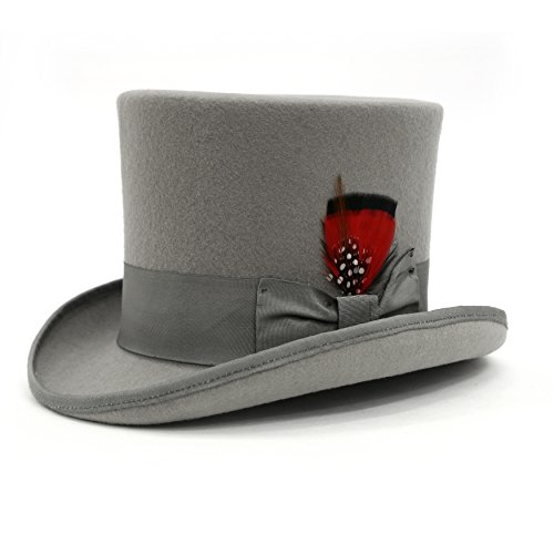 Lincoln Stovepipe Tophat (M - Ferrecci Premium All Grey Top Hat)