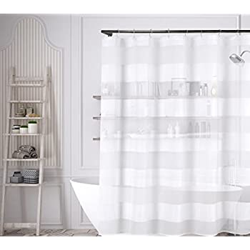 Best Decorative Sheer Fabric Shower Curtain Beige Gold Embroidered Flowers