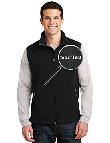 Custom Embroidered Mens Fleece Vest - Embroidery Zip Up Sleeveless Jacket for Men -