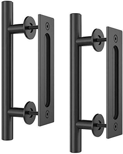 Homlux-12-Heavy-Duty-Pull-and-Flush-Door-Handle-Set-Black-Powder-Coated-Finish-Round-Shape-Sliding-Barn-Door-Handle-Fit-1-38-1-34-Thickness-Door-Panel-Pack-of-2-Black