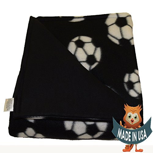 Adult Large Weighted Blanket By Sensory Goods 15lb Medium Pressure - Soccer Pattern with Black - Fleece/Flannel (42'' x 72'') by SENSORY GOODS