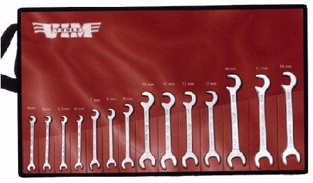 VIM AWM100 Angle Wrench Metric Set 14 pc. 15 X 80 degree flat profile open end wrenches