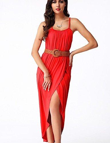 PU&PU Robe Aux femmes Gaine Street Chic,Couleur Pleine A Bretelles Maxi Polyester , red-xl , red-xl