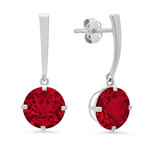 14k White Gold Solitaire Round-Cut Created Ruby Drop Earrings (8mm)
