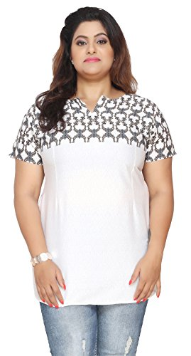 Womens-Plus-Size-Short-Sleeve-India-Kurtis-Tunic-Top-Printed-Indian-Clothing