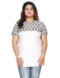 Women's Plus Size Short Sleeve India Kurtis Tunic Top Printed Indian Clothing