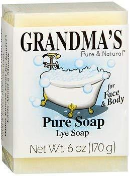 Grandmas Old Fashioned - Grandma's Lye Face & Body Soap - 6 oz, Pack of 5