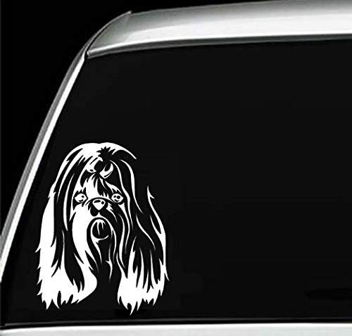 (Shih Tzu Head Dog Silhouette Laptop Wall Home Décor Window Car Bumper 5.5 Inches Vinyl Sticker Decal)