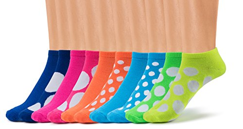 Silky Toes Women's Casual Low Cut Everyday Ankle Socks, Multi Pack (Polka Dots (10 per pack))