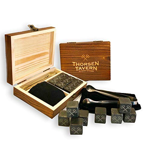 Whiskey Stones Set by Thorsen Tavern - 9 Granite Whiskey Chilling Stones, 1 Tongs set & 1 Black Velvet Bag in Elegant Wooden Box; Keep Your Whiskey, Bourbon and Scotch Slightly Chilled & Flavorful