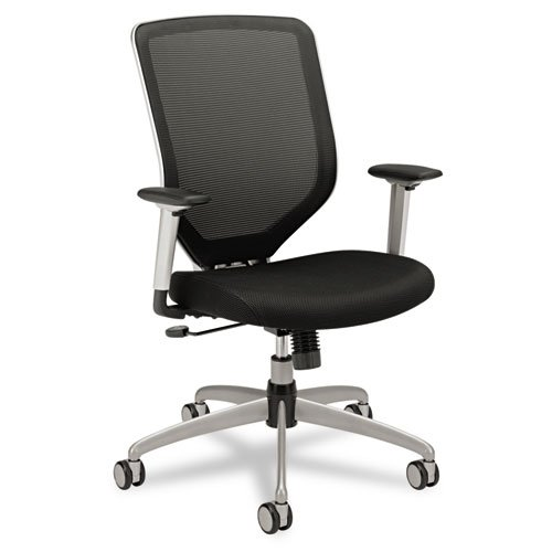 Boda Series High-Back Work Chair, Padded Mesh Seat, Mesh Back, Black