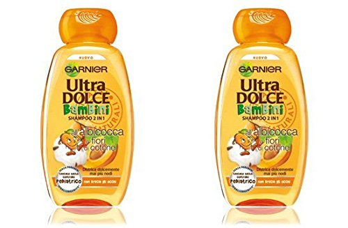 """Garnier: """"Ultra Dolce Bambini"""" (""""Super Sweet for Kids"""") 2in1 Shampoo with Apricot and Cotton Flowers * 8.45 Fluid Ounces (250ml) Package (Pack of 2) * [ Italian Import ]"""